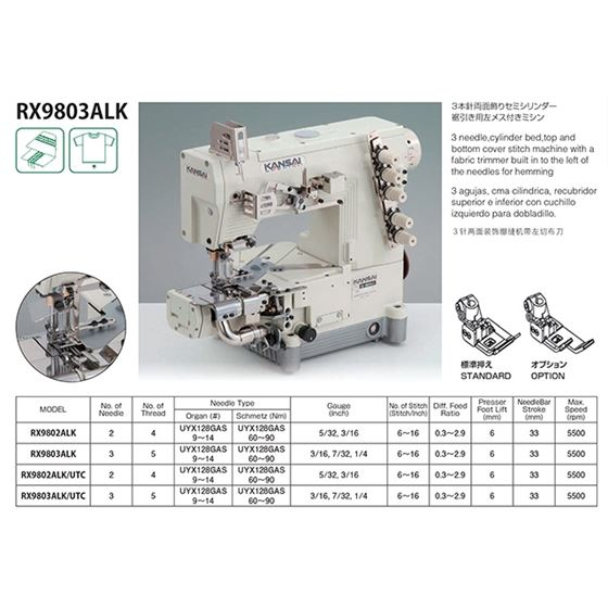 RX SERIES Cylinder Bed Coverstitch Sewing Machines RX9803ALK