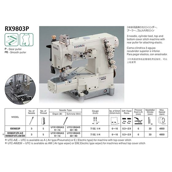 RX SERIES Cylinder Bed Coverstitch Sewing Machines RX9803P