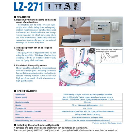 LZ-271 1-needle, Lockstitch, Zigzag Stitching 3